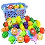 MAJOZ Einkaufskorb Kinder Spielzeug - 23er Set Obst und Gemüse Zum Schneiden - Rollenspiel - Kinderküchen Spielzeug Zubehör - Frühkindliche Bildung