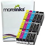 15 Moreinks Cartouches d'encre Compatibles pour Imprimante Canon Pixma MP540 - Cyan / Jaune / Magenta / Noir- Avec Puce