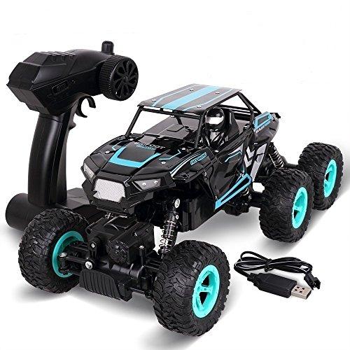 RC Cars, Rock Off Road Crawler Truck 6WD Racing Fahrzeug 2.4 Ghz High Speed Ferngesteuertes Auto 1:14 Radio Fernbedienung Elektro Buggy - Rolytoy Geschenkidee für Kinder - 1 Geschwindigkeiten-kugellager Motor