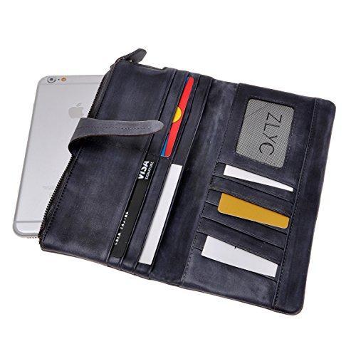 ZLYC stile retrò a mano inclusa in pelle morbida Lungo Frizione Portafoglio Porta Carte Tasca con zip, Brown (marrone) - JC-FLT-8019D-BR-1 Gray