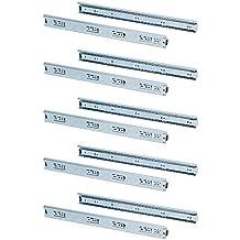 Emuca 3043305 Coppia di Guide/Binari con Cuscinetti a Sfere ad Estrazione Totale 45mm x 350mm per Cassetto, Set di 5