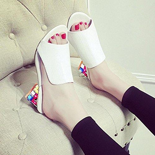 DM&Y 2017 greggio europeo e americano con un set di font sandali piede diamante signora pantofole. sandali e ciabatte con la testa di pesce White