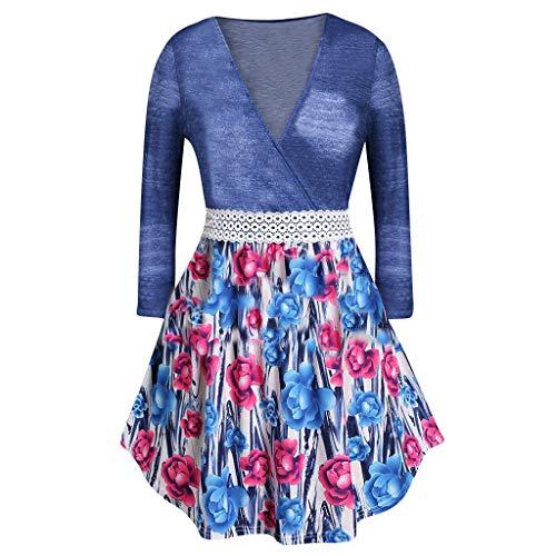 Übergröße Blusen Damen Spitze Bluse V-Ausschnitt Langarmshirts Frauen Bluse Shirt unregelmäßige dünne Datierungs Sweatshirt Pullover Oberseiten Outwear -