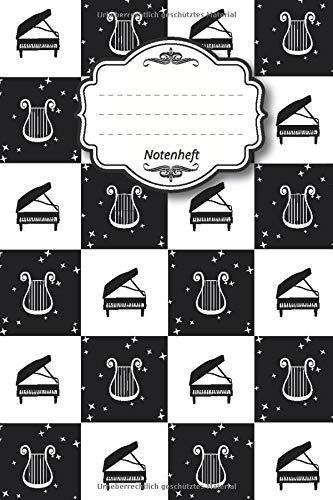 "Notenheft: Notenbuch I 96 Seiten I ca. a5 I 15,24 x 22,86 I 6"" x 9"" I 8 Notensysteme pro Seite I mattes Softcover I Klavier Harfe weiß schwarz"