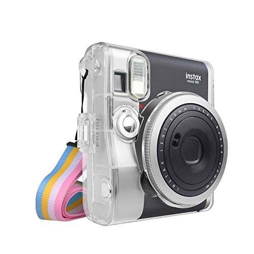 Fintie Tasche für Fujifilm Instax Mini 90 Neo Classic Sofortbildkamera - Ultradünne PVC Hartschale Schutzhülle Reise Kameratasche Hülle Abdeckung mit Regenbogen abnehmbaren Riemen, Crystal Clear