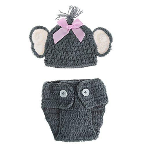 Neugeborene Baby Elefant Strick Häkelmütze Jungen Mütze Kostüm Fotografie Requisiten Outfits für Jungen 2 Farben - Elefanten Kostüm Muster