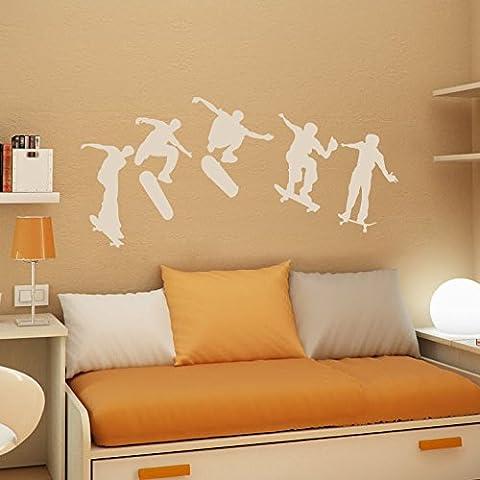 patinadores monopatín siluetas–niños dormitorio pared arte vinilo adhesivo, Blanco, Medium