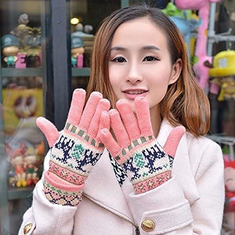 KHSKX Autunno Inverno guanti di lana-coreano Lady neve spessa cervi caldi guanti in maglia,un
