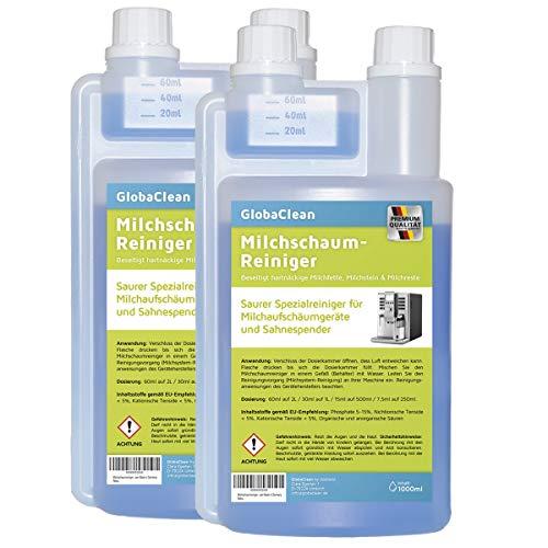 GlobaClean Milchschaum-Reiniger Milchsystem-Reiniger für Kaffeevollautomaten und Kaffee-Maschinen - Flüssig-Reiniger für Milchaufschäumer (2x 1 Liter)