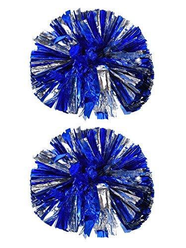 ng Pompoms Metallisch Blume Ball Folie Kunststoff Ringe Pom Poms für Cheer, Tanzen Team (Blau und Silber) ()