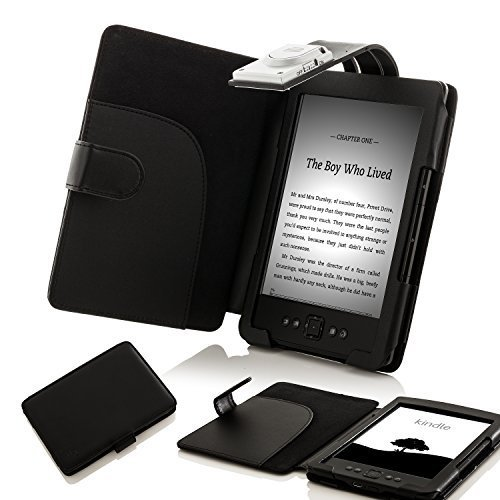 Generation Hülle 4. Amazon Kindle (ForeFront Cases® Lederhülle / Hülle / Schutzhülle - Synthetik mit LED LICHT Schwarz - für den neuen AMAZON KINDLE 4 WLAN, 15 cm E Ink Display, Schwarz - 5TH GENERATION - Case Cover mit Leselampe)