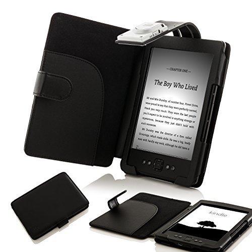 Hülle Amazon 4. Generation Kindle (ForeFront Cases® Lederhülle / Hülle / Schutzhülle - Synthetik mit LED LICHT Schwarz - für den neuen AMAZON KINDLE 4 WLAN, 15 cm E Ink Display, Schwarz - 5TH GENERATION - Case Cover mit Leselampe)