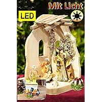 Premium presepe 14con illuminazione a LED, con trasformatore Lanterna camp fire, storico, Set di collegamento roof-stable in legno, con set di 6personaggi (Josef, Maria, 2pecore Gesù Bambino,