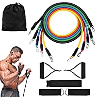 ROMIX Exercise Resistance Bands 5 Sets, Fitness Training Stretch Band for Women/Men, 100lbs Non Slip Workout Tubes with Foam Handles, Door Anchor, Ankle Straps, Carry Bag for Sports, Yoga, Gym