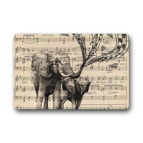 Shirley de tapis de porte Note de musique et éléphant