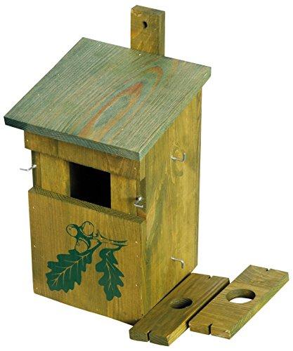 """dobar 22157e Dekorativer Nistkasten für Vögel, aus Holz (Kiefer, Massivholz), für Garten, Balkon, 3 variable Einfluglöcher, Motiv """"Eiche"""" - Nisthilfe Vogelhaus"""