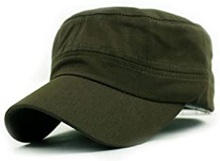Kingko Army Green Men's Classic Plain Vintage Military Cadet Style Cotton Cap