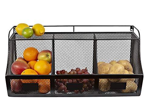 Kyross Draht Metall hängend Küche Organizer Obst Gemüse Badezimmer Parfüm Aufbewahrung Garage Korb Schwarz 60cm - Draht Dvd-rack