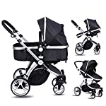 Amzdeal Baby Pram, 2 in 1 Baby Stroller Pushchair, Luxury Reversible Toddler Stroller for 0-3 Years Old Outdoor Jogger…