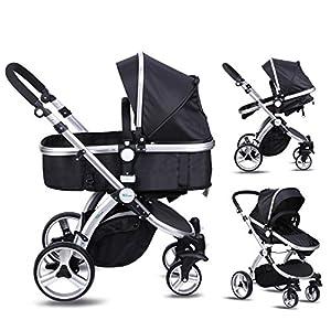 Amzdeal Baby Pram, 2 in 1 Baby Stroller Pushchair, Luxury Reversible Toddler Stroller for Outdoor Jogger Travel Bearing 20kg, 2018 Design(Black)
