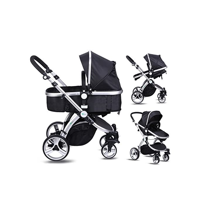Amzdeal Baby Pram, 2 in 1 Baby Stroller Pushchair, Luxury Reversible Toddler Stroller for Outdoor Jogger Travel Bearing 20kg, 2018 Design(Black)