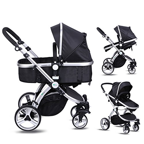 Amzdeal Baby Pram, 2 in 1 Baby Stroller Pushchair, Luxury Reversible Toddler Stroller for Outdoor Jogger Travel Bearing 20kg, 2018 Design(Black) 51 4ZoUGaRL