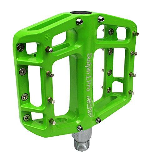 NC-17 Sudpin I Pro Aluminium Plattform Pedale / Fahrrad Pedale MTB / Mountainbike Pedal / BMX Pedal / Kugellager + Cr-Mo Achse / inklusiv Ersatzpins, Grün