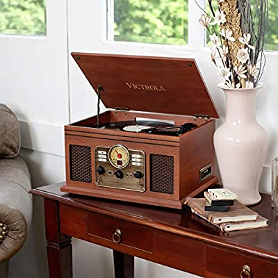 Victrola Classic 6-in-1 Bluetooth Turntable Music Centre - Mahogany