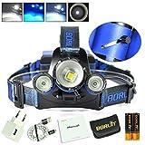 Boruit Linterna Frontal LED CREE-XML-L2 Luz Blanco+2*CREE-XPE Luz Azul Lámpara de Cabeza 600...