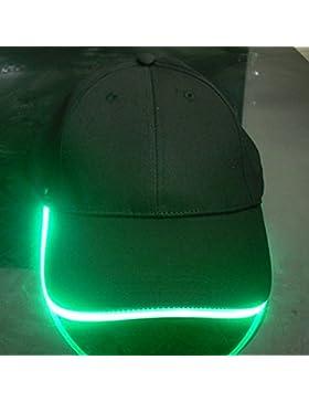 Namsan Hombre Gorra Gorra de béisbol con luz LED Glow Party Cap linterna LED Cap, verde