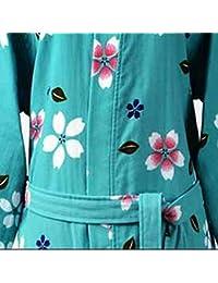 Pajamas Traje de Pijama, algodón con Bolsillos Albornoz, cifrado Doble Albornoz Fino Algodón Cifrado de Gasa Modelos Femeninos Primavera y Verano Camisones Absorción de Agua Khan Steamed Clothes (Man