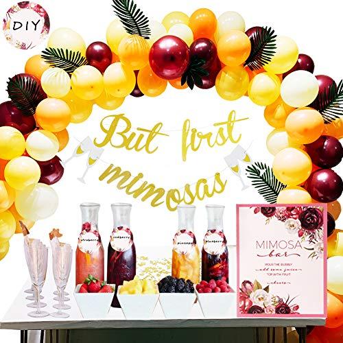 foci cozi Mimosa Bar Party Decoaration Kit mit But First Mimosa Banner,Papier-Konfetti, 10''Latex-Luftballons für Ihre Birdal Shower, Bachelorette, Engagement, Coral Birthday Dekorationen