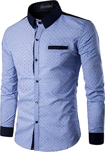 Jeansian Hommes Mode Casual Chemises Manche Longue Men's Fashion Slim Long Sleeves Dress Shirts Tops 84P3 Skyblue