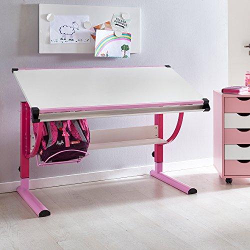 Wohnling Design Kinderschreibtisch Moritz Holz 120 x 60 cm rosa/weiß | Mädchen Schülerschreibtisch neigungs-verstellbar | Schreibtisch Kinder höhenverstellbar