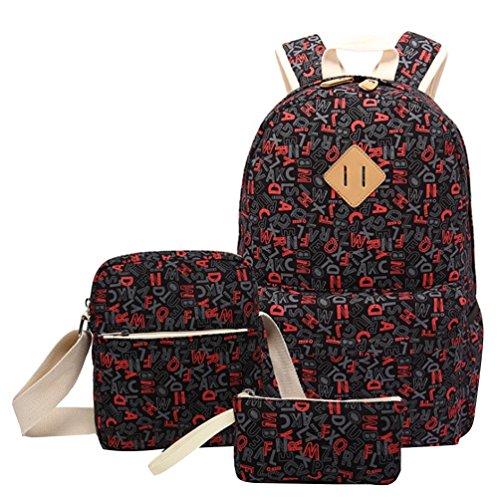 34ee78f0f0853 CHENGYANG 3 Pcs Taschen Mädchen Rucksäcke Schulrucksäcke Canvas Rucksack  Teenager Umhängetasche für schule Schwarz