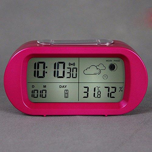 ZHGI Lazy allarme temperatura e umidità orologio sveglia Sveglia letto e abbiamo dormito piuttosto creativo electronic orologio meteo,rosso