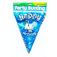 Happy 4th Birthday Flag Bunting Age Boys Blue Pennant Banner Party Decorations