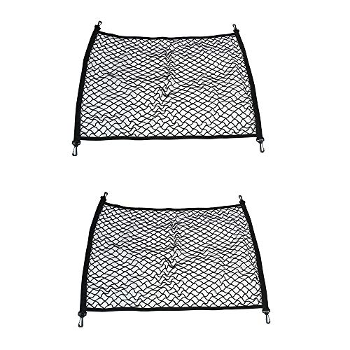 2PCS Einstellbare elastische Heavy Duty Cargo Net - Universal Stretchable Cargo Net mit Haken-Organizer, Lagerung, Mesh, Nylon, Bungee- für Auto SUV-schwarz - Schwarz Netting-bett