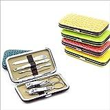 EQLEF® 7PCS Unisex Manicure Set, lima per unghie, cuticola Cutter, raccogliere orecchio, forbici Combinazione diamantata, pinzetta, pinza della cuticola, forbici sopracciglio, colore casuale