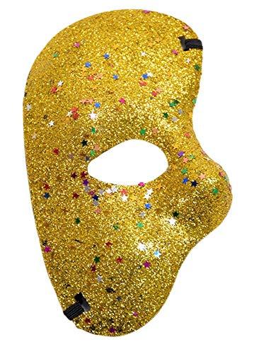 Inception pro infinite (Gold) Halbgesichtsmaske - Phantom der Oper Mit Glitzer farbig Kostüm Maskerade Karneval Halloween ()
