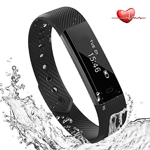 Fitness Tracker mit Herzfrequenz Pulsmesser Uhr, Lemebo Bluetooth 4.0 Fitnessaufzeichnung IP67 Wasserdicht Smart Armband mit Schrittzähler Schritt Tracker Schlaf-Monitor Kalorienzähler Schrittzähler Uhr SMS Anrufe Reminder für Android und iOS Handys