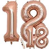 Luftballons Zahl 18 Geburtstag XXL Rose Gold - Riesen Folienballon in 2 Größen 40