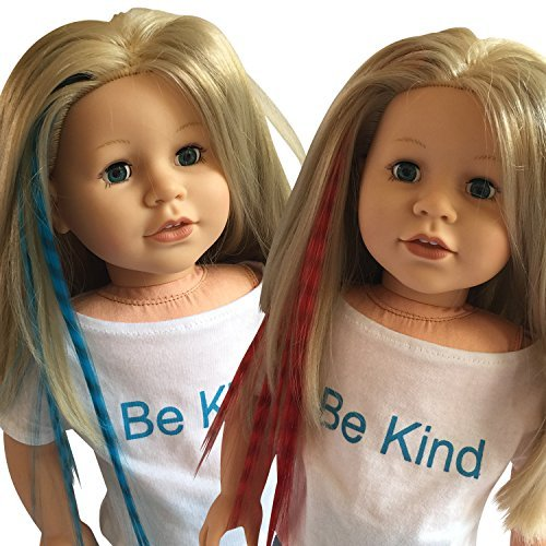 Clip In Hair Extensions Blue & Red for 18 inch Dolls and American Girl Dolls - Doll Wig Piece in Blue and Red- Hair Extensions for 18 inch Dolls (Hair Extensions Clip-in 18)