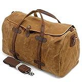 Fresion Robust Reisegepäck Großräumige Handtasche Schultertasche Reisetasche für kurze Reise Arbeitstasche  Khaki