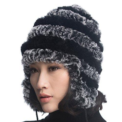 URSFUR Mujer Rex Rabbit Fur Knit Peruano Gorro Unisex Cálido earfalp esquí  Cap - - 09bdd453bb2d