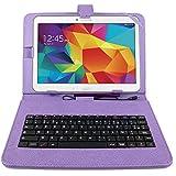 """Etui violet + clavier intégré AZERTY pour Samsung Galaxy Tab 4 (SM-T530/T533), Tab A 9,7"""" (T550) et Tab A 10.1 (2016) T580 tablettes 10.1"""" - stylet tactile BONUS + Garantie DURAGADGET de 2 ans"""