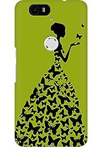AMEZ designer printed 3d premium high quality back case cover for Huawei Nexus 6P (pista green princess)
