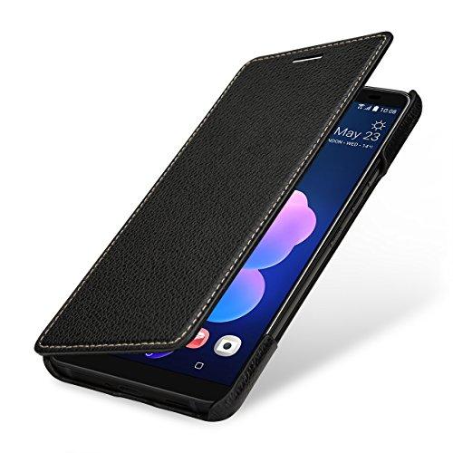 StilGut Book Type Lederhülle für HTC U12+. Seitlich klappbares Flip-Case aus Echtleder, Schwarz