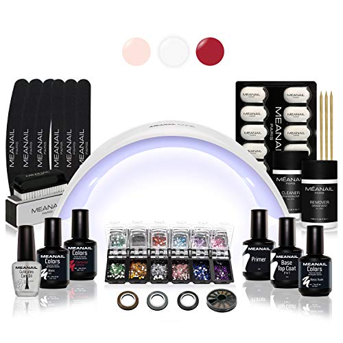 Kit Semipermanente Unghie Professionale Completo • Fornetto UV LED  Smalto Gel Unghie e Primer, Remover, Base Coat, Top Coat • Edition Design Deluxe XXL • Vegan & Cruelty Free Norme CE • Meanail Paris