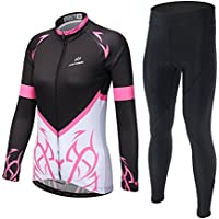 Skysper Maillot Conjunto Mangas Largas Pantalones Largos de Ciclismo para mujer Ropa Maillot Transpirable para Deportes al aire libre Ciclo Bicicleta Otoño Invierno